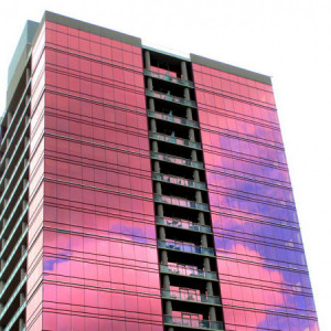 Pink Reflective Double-Pane Glass