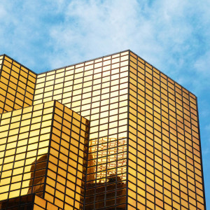 Gold Reflective Double-Pane Glass
