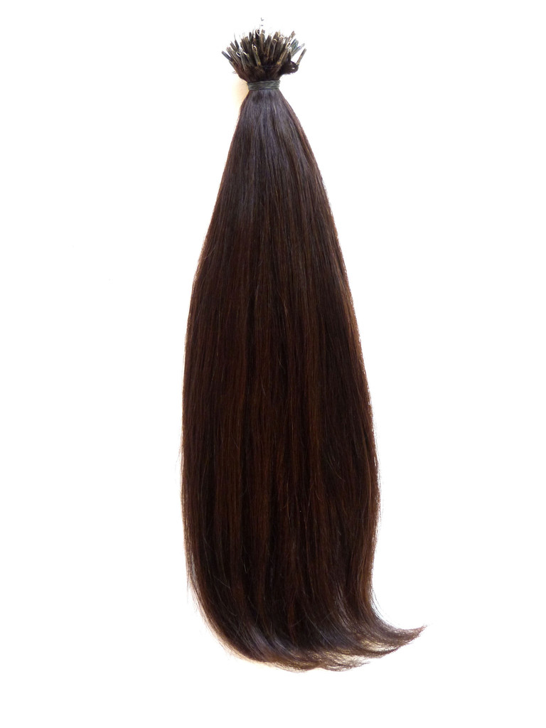 European Virgin Remy Human Hair, Nano Tip, Straight, 18'' Colour 4 - Dark Hazel Brown