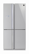 French Door Refrigerator with Glass Silver door finish 676L