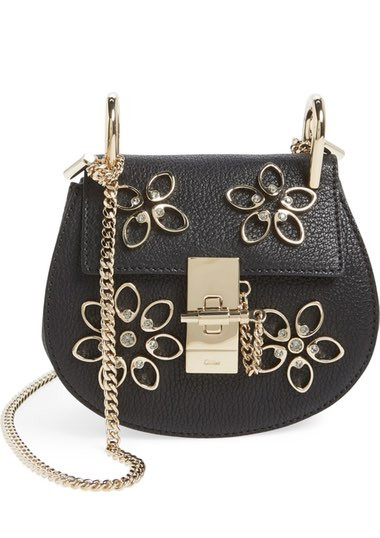 Nano Drew - Flowers' Crystal Embellished Leather Crossbody Bag