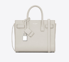 CLASSIC NANO SAC DE JOUR BAG IN DOVE WHITE GRAINED LEATHER
