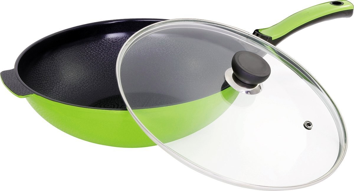 Amoré TM Kitchen BELLA FLAME 12 GREEN CERAMIC COATED NONSTICK WOK