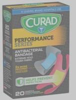 Curad Performance Series™ Assorted Colors, Finger/Knuckle Antibacterial Bandages