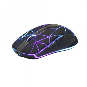 Rii RM200 Wireless Mouse2.4G Wireless Mouse 5 Buttons Rechargeable Mobile Optical Mouse with USB Nano Receiver3 Adjustable DPI LevelsColorful LED Lights for NotebookPCComputer-Black
